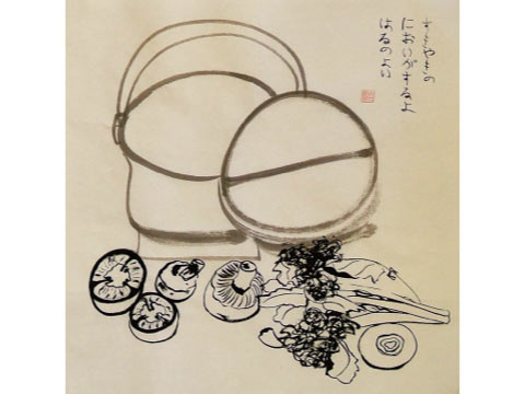 Sukiyaki, 2012, Sumie Ink on Rice Paper, 33 W x 33 H x 11 in